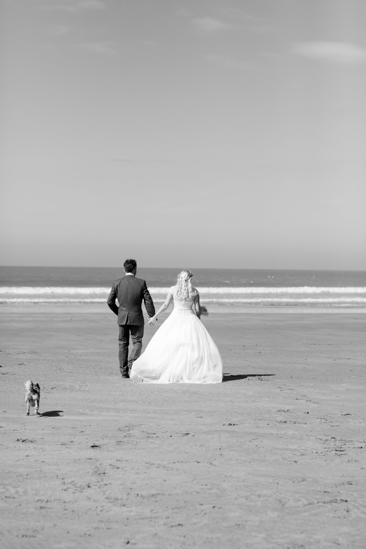 surfer beach wedding black and white