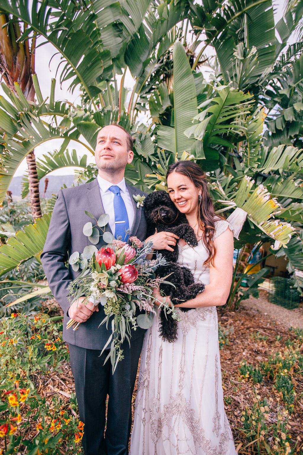 bride and groom with family dog at desert wedding in Ojai