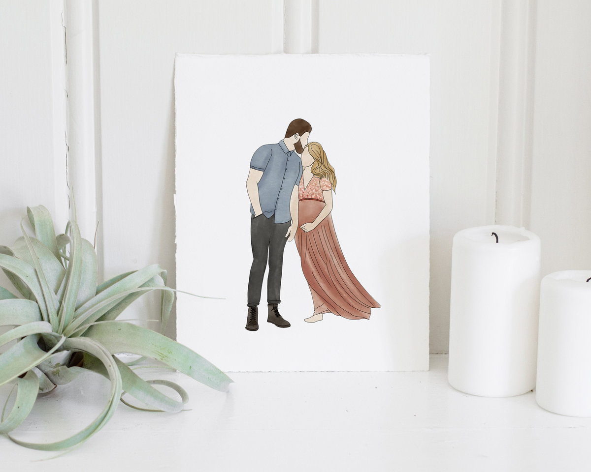 maternity_custom_watercolor_portrait