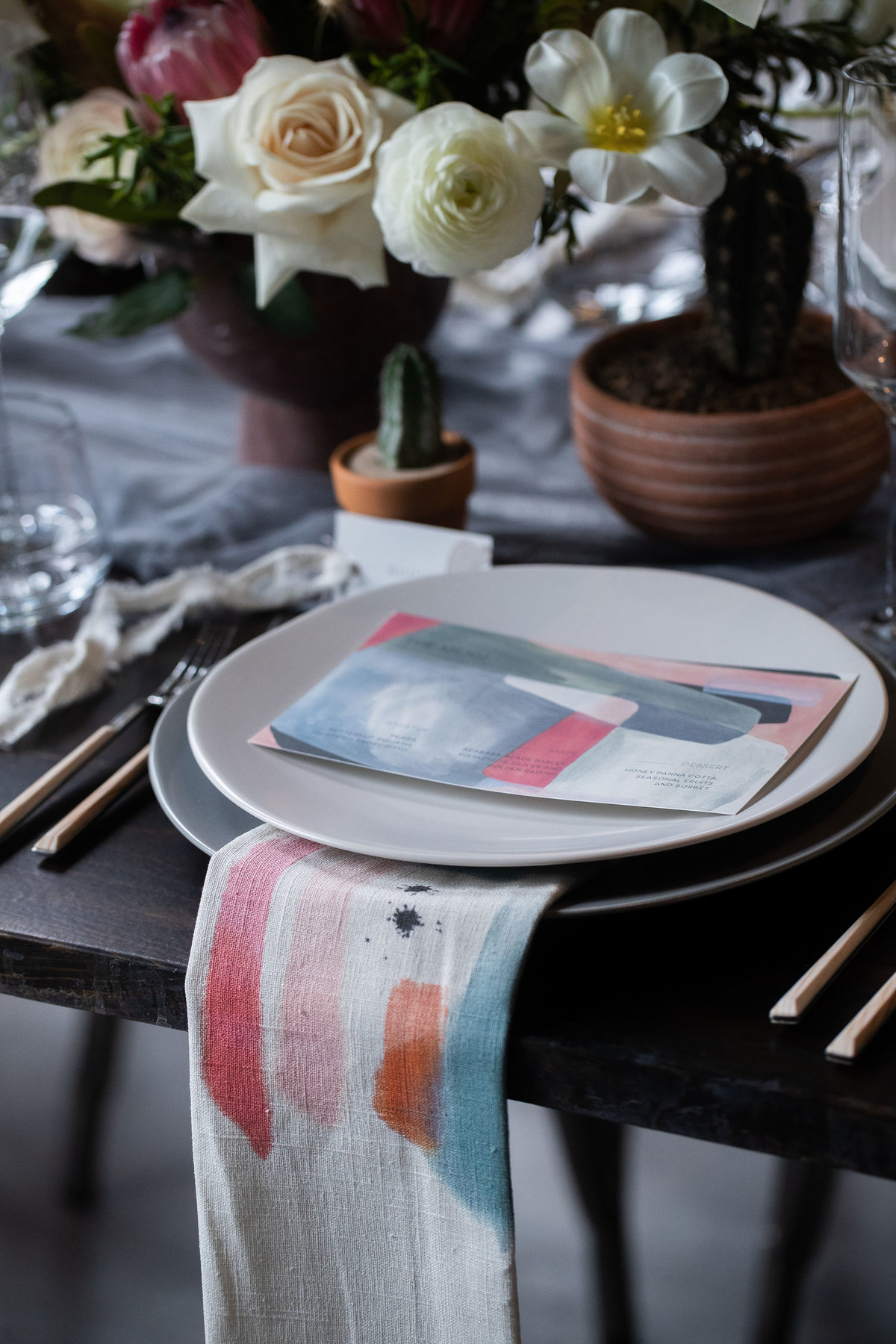 Custom Napkins Coral Desert Wedding Inspiration - Verve Event Co (13)