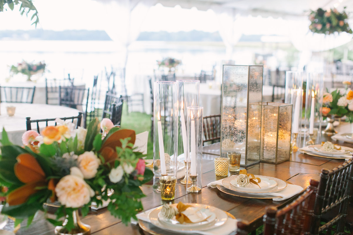 Classic Charleston Wedding Head Table Farm Tables Gold and White Lanterns Taper Candles