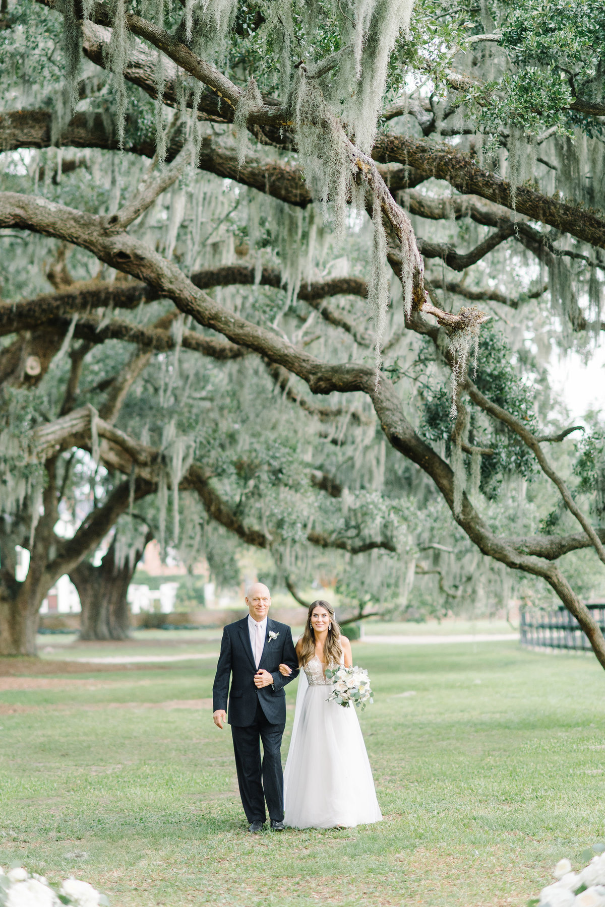 Dad and Bride Walking down the Aisle Boone Hall Plantation Avenue of Oaks Spanish Moss
