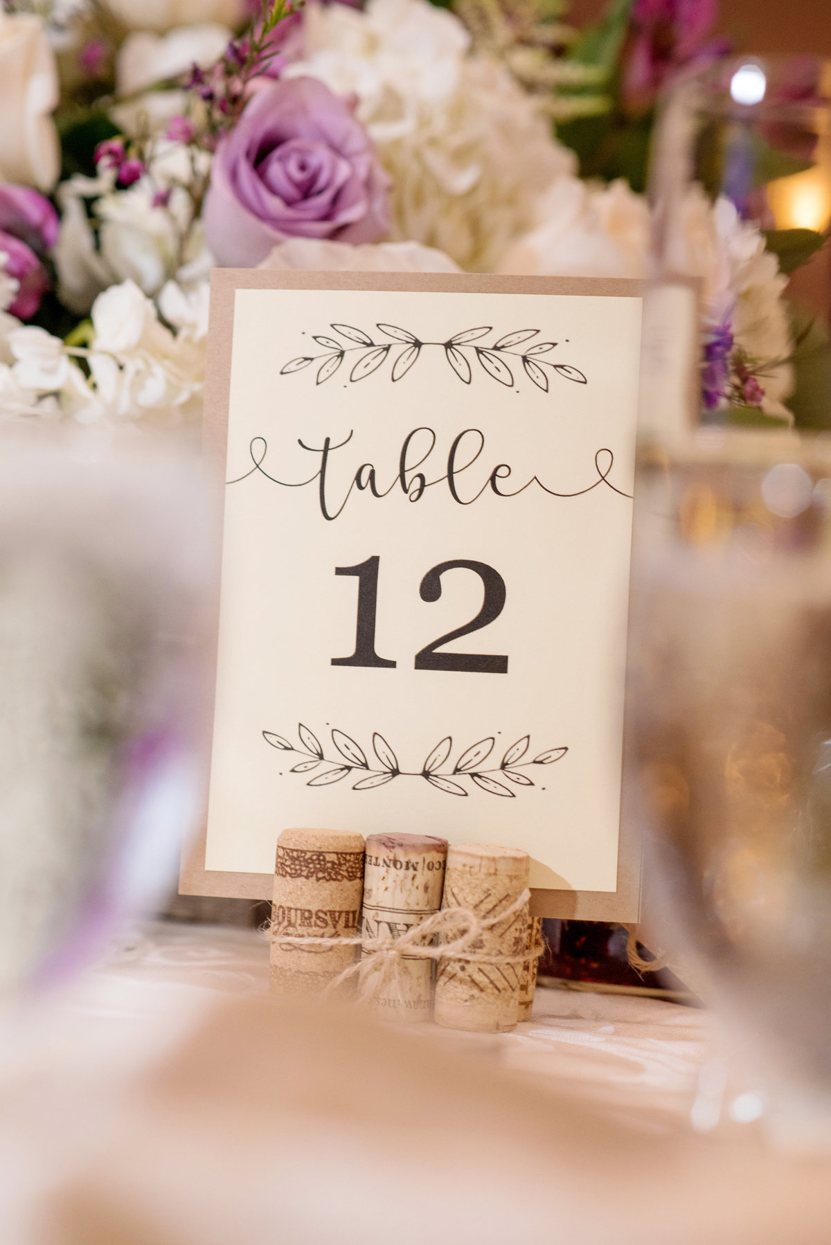 table numbers of wedding reception at Willow Creek Golf and Country Club
