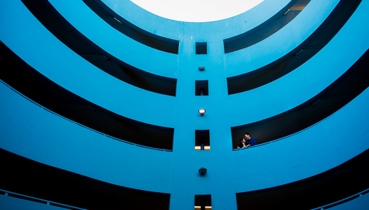 Downtown Vancouver engagement session in a parkade.
