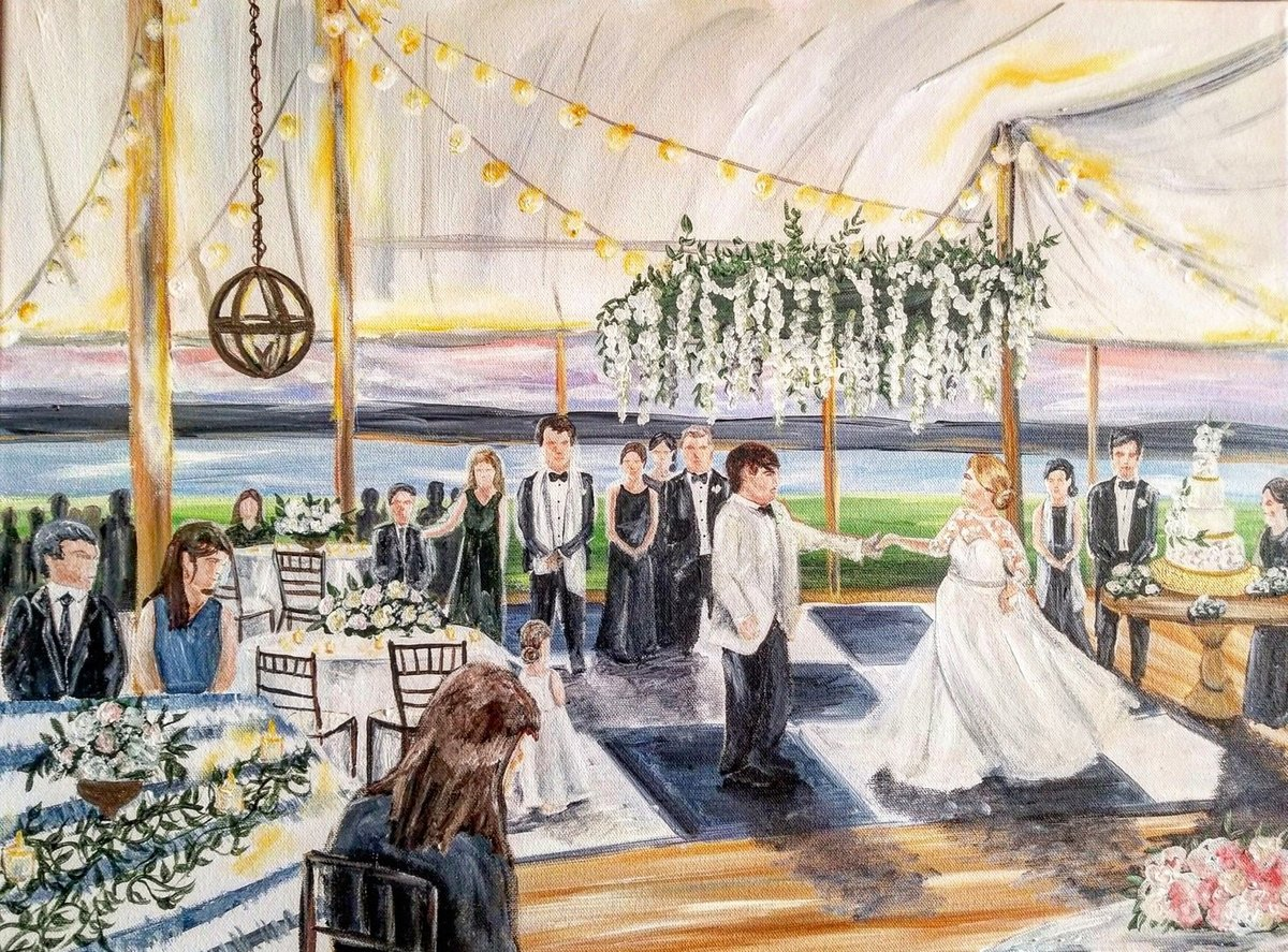 Richmond Virginia bride and groom share first dance in live wedding painting By Brittany Branson