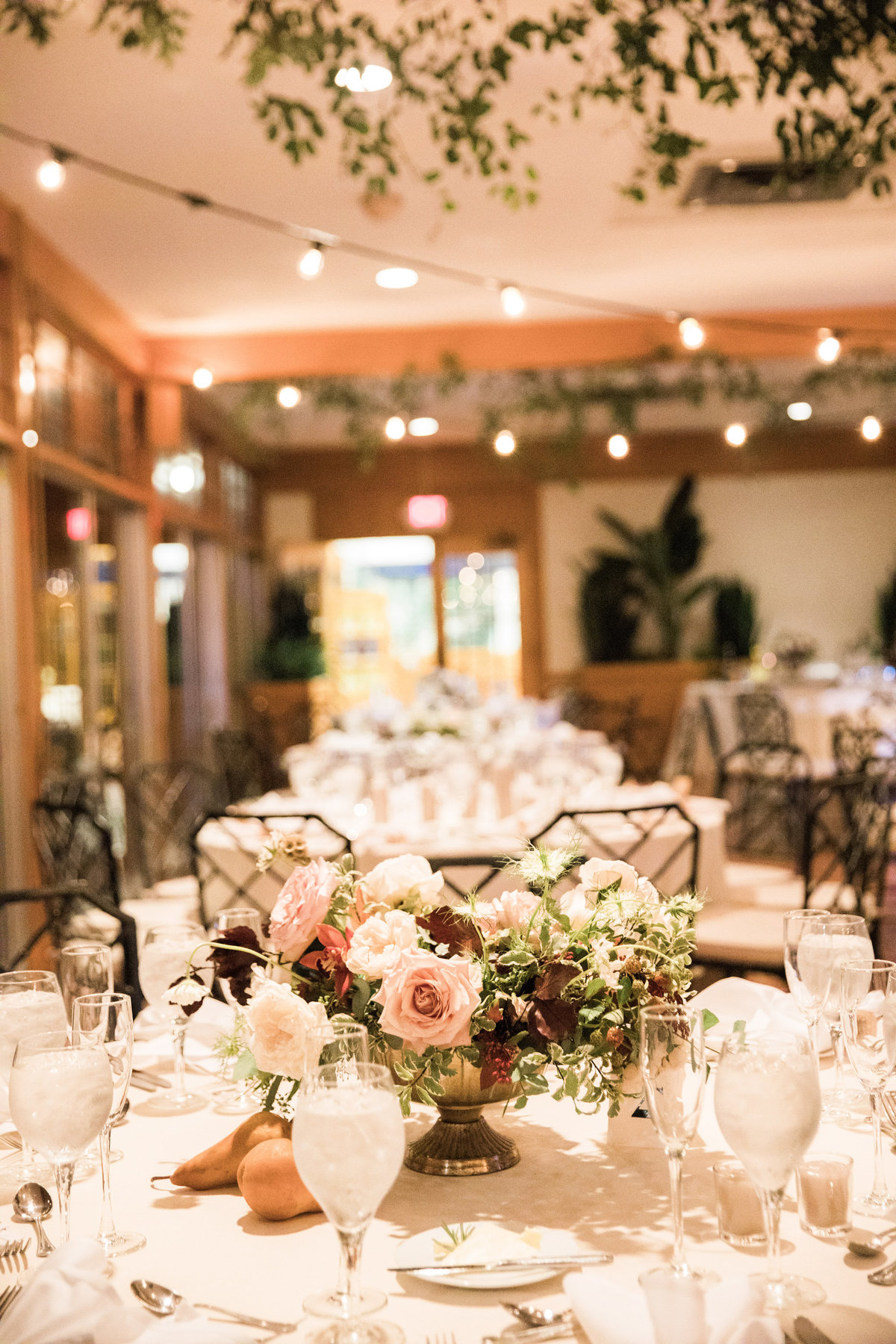 wedding reception Winterthur centerpiece florist