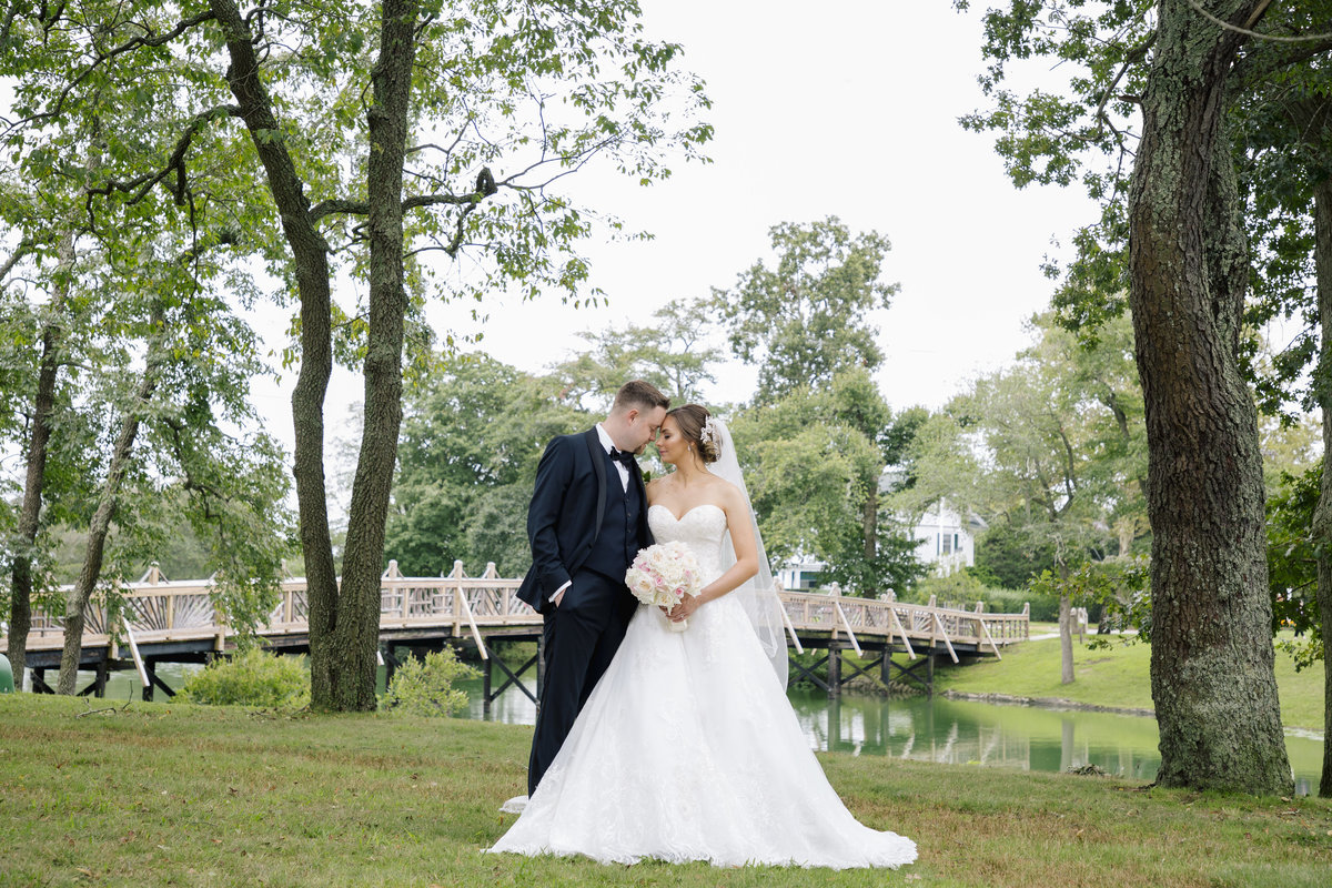 bride and groom portrait in spring lake park  wedding