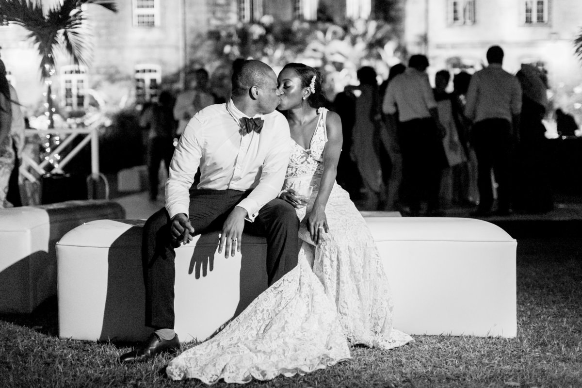Bride and groom night portrait at wedding reception Barbados
