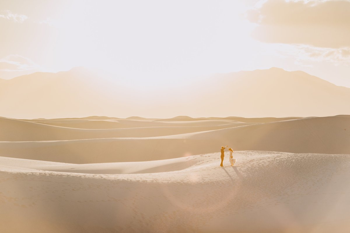 Adventure wedding at White Sands New Mexico