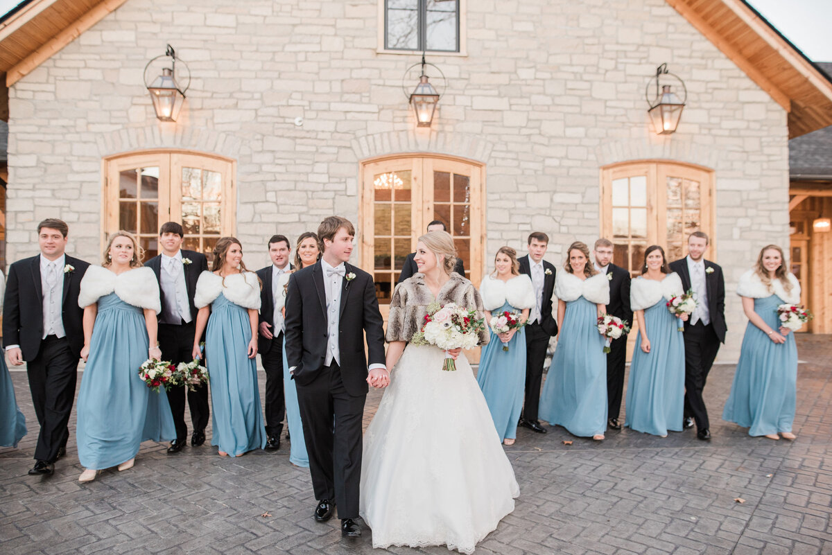 winter wedding party at stone house of St Charles