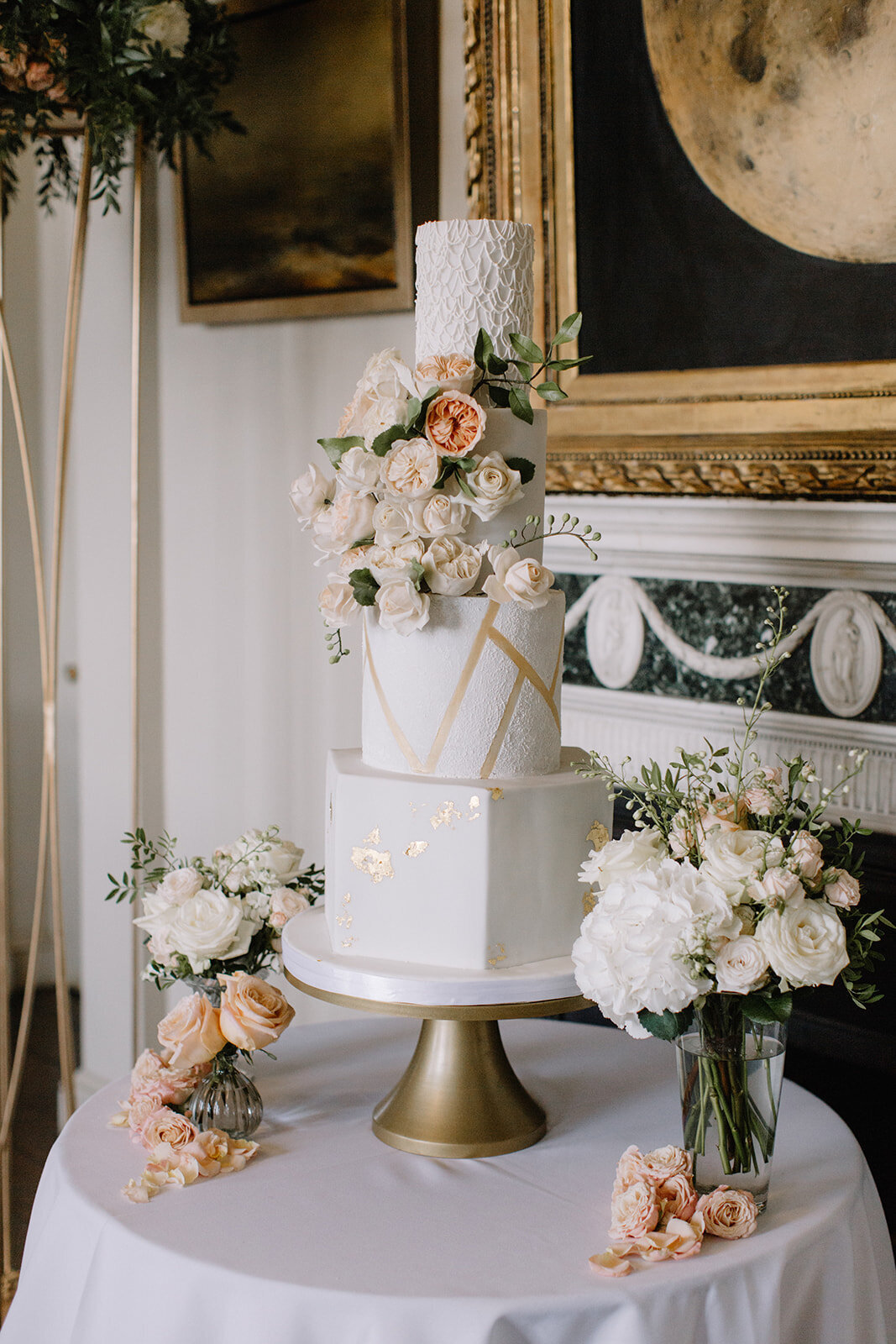 4 tier geometric floral wedding cake  | MonAnnie