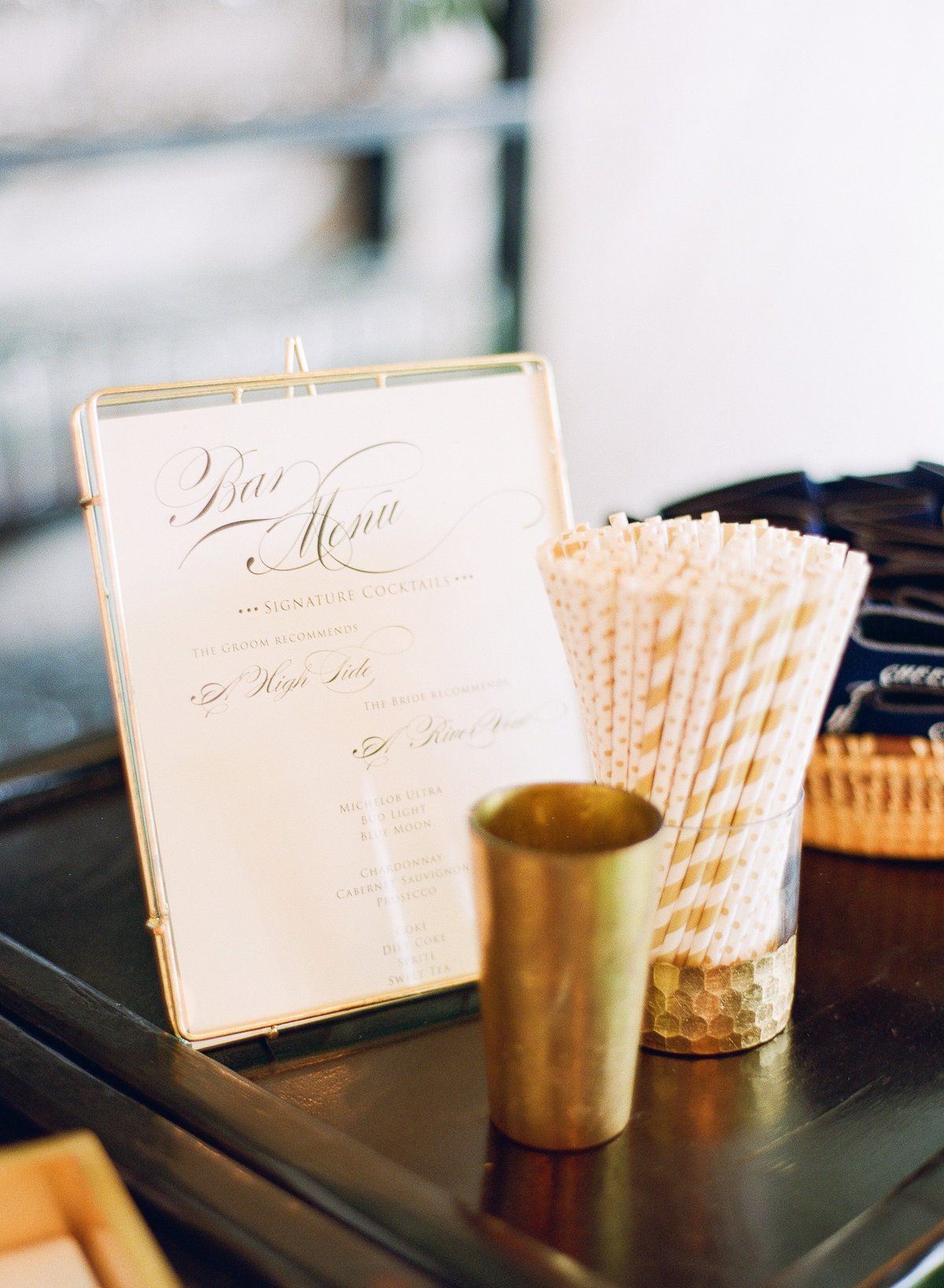 Bar Signage in Gold Frame with Gold and White Straws