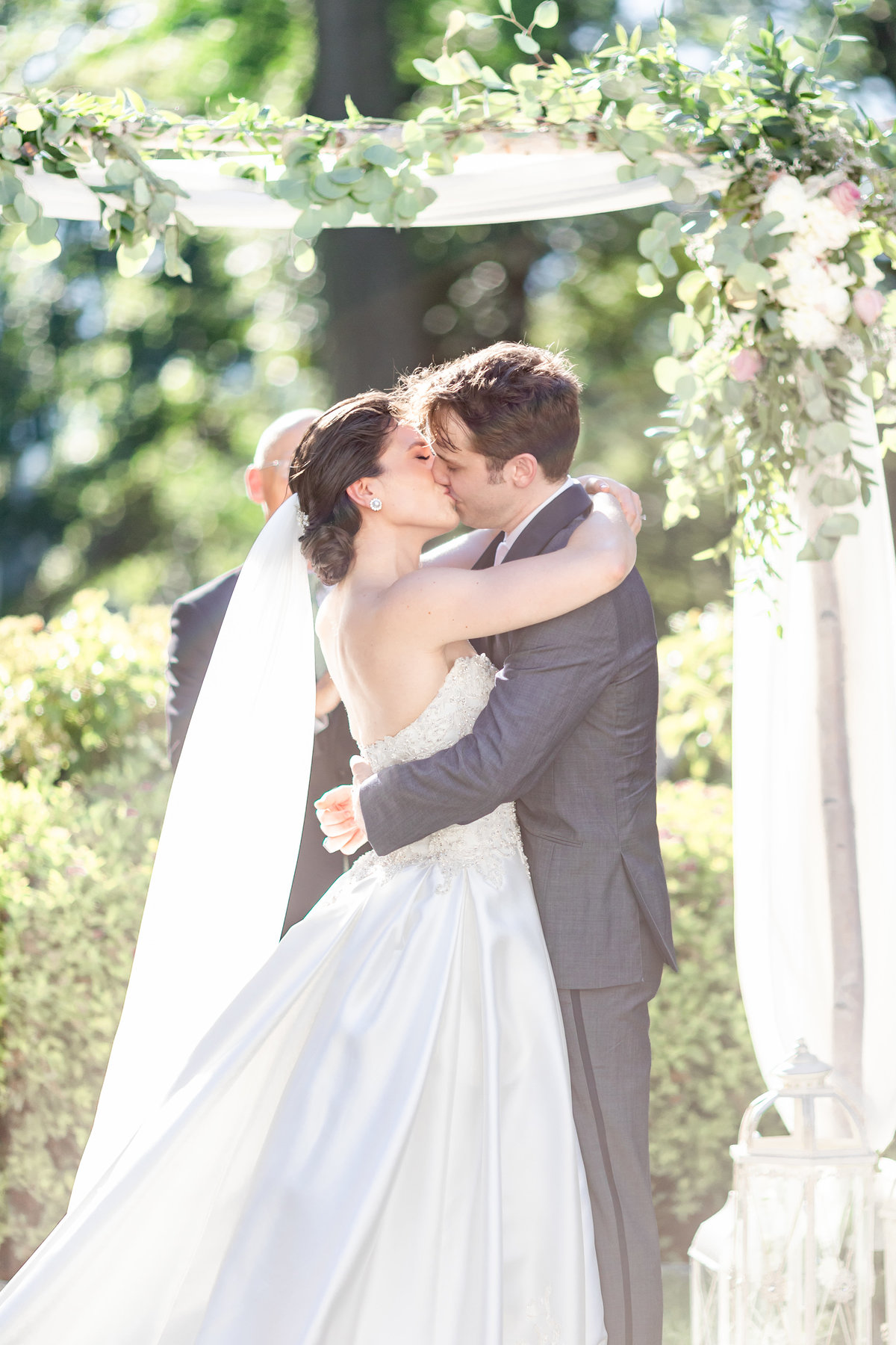 Briarcliff Manor wedding ceremony photo of bride and groom kissing
