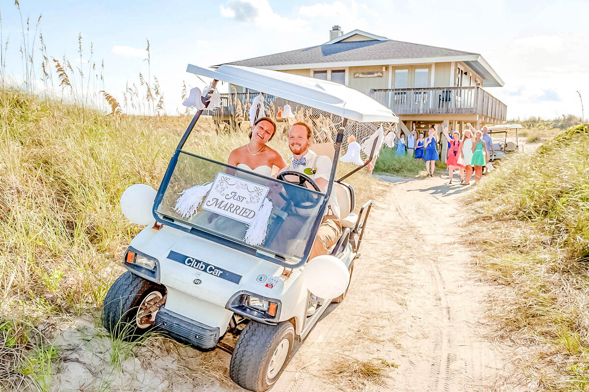 Bald Head Island Wedding Photography - Anna and Ray - Bride and Groom Exit - Wilmington NC Photographer Team