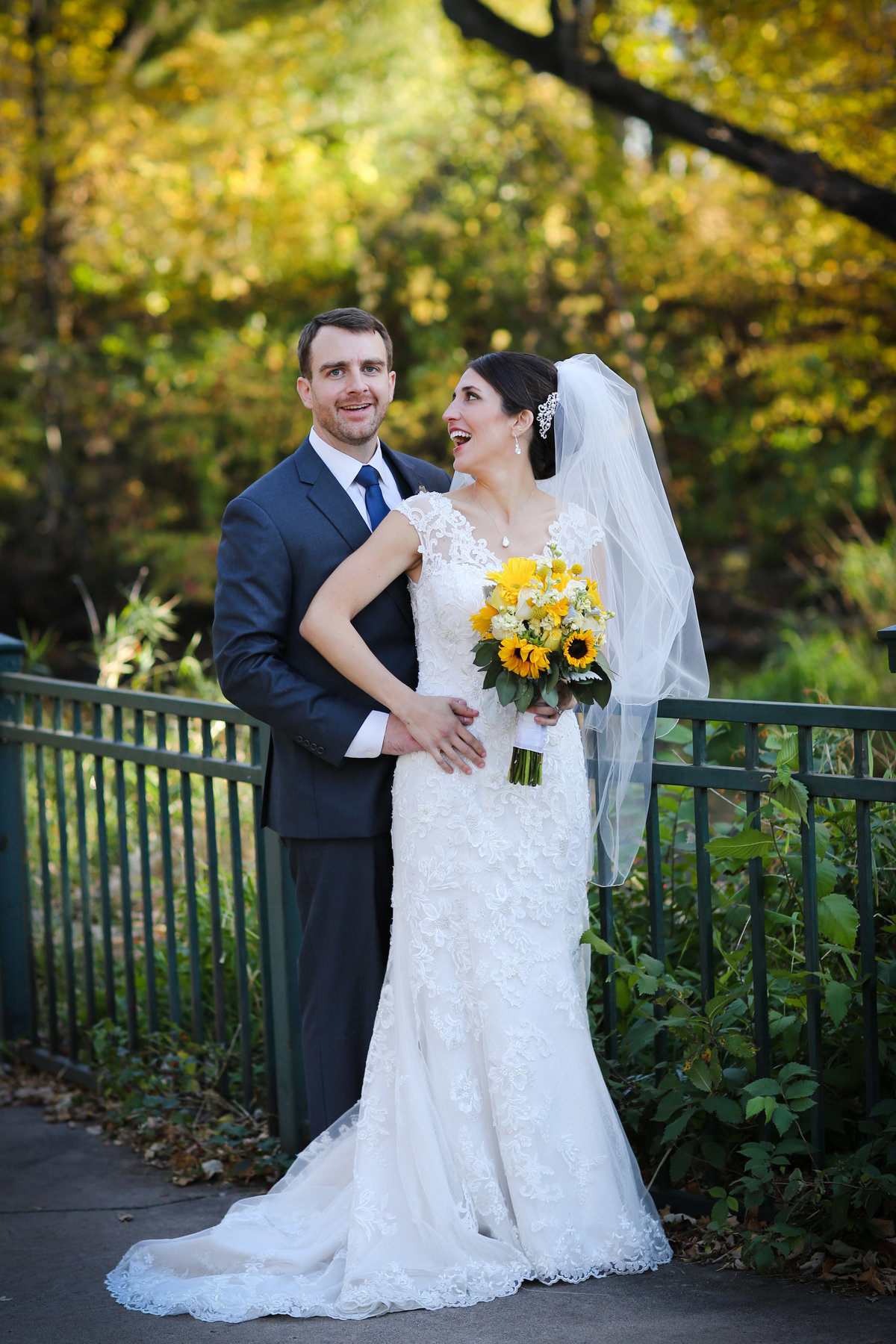 Minnehaha Falls - Fall wedding pictures of the bride and groom