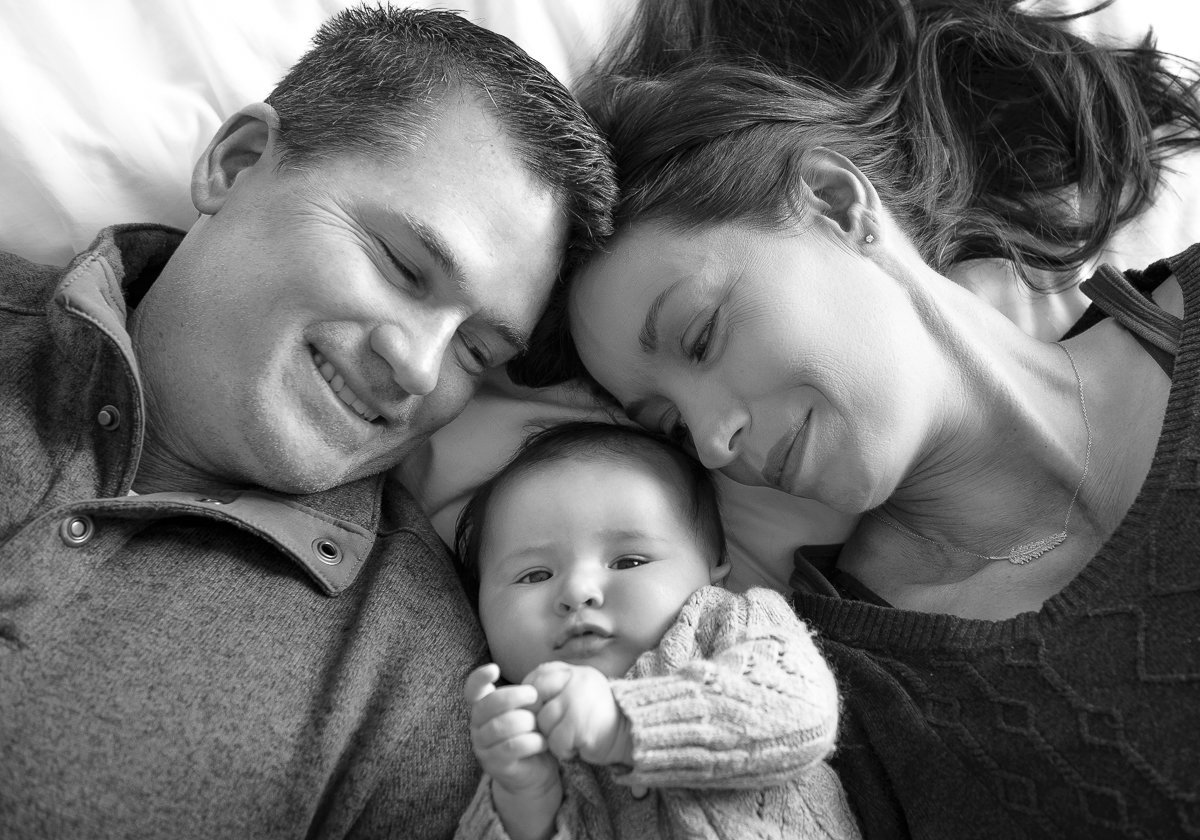 Black and White Newborn and Family photo