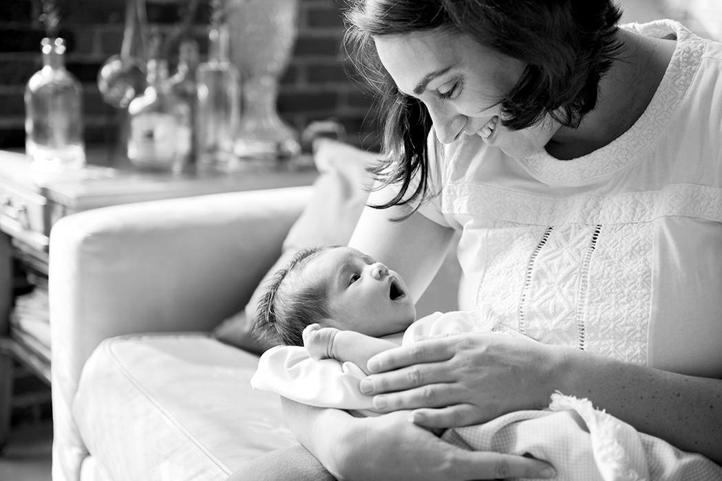 black and white modern in home lifestyle newborn photos Lawrence MA by Q Hegarty Photography