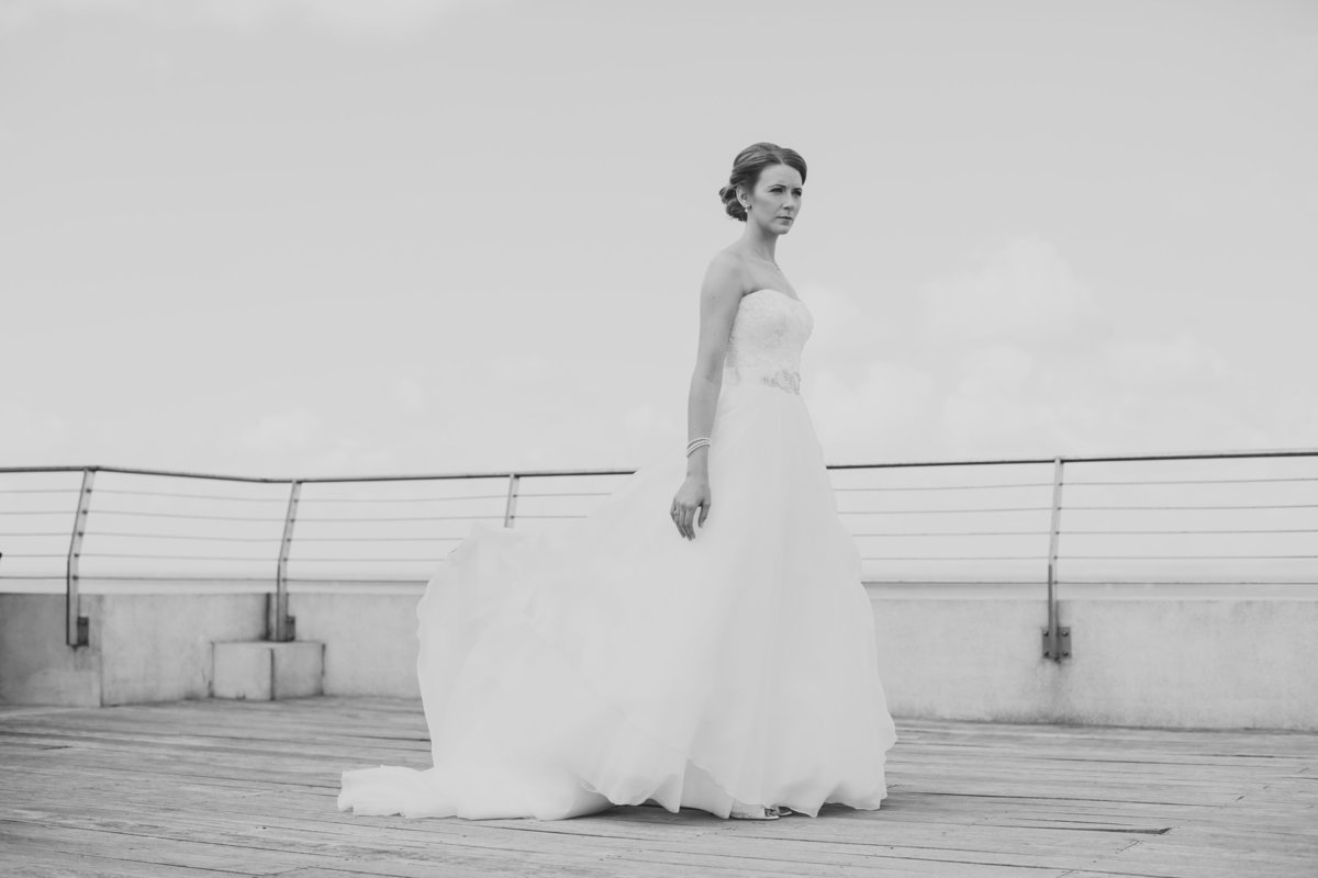 vogue style wedding portrait in b&w of stunning bride