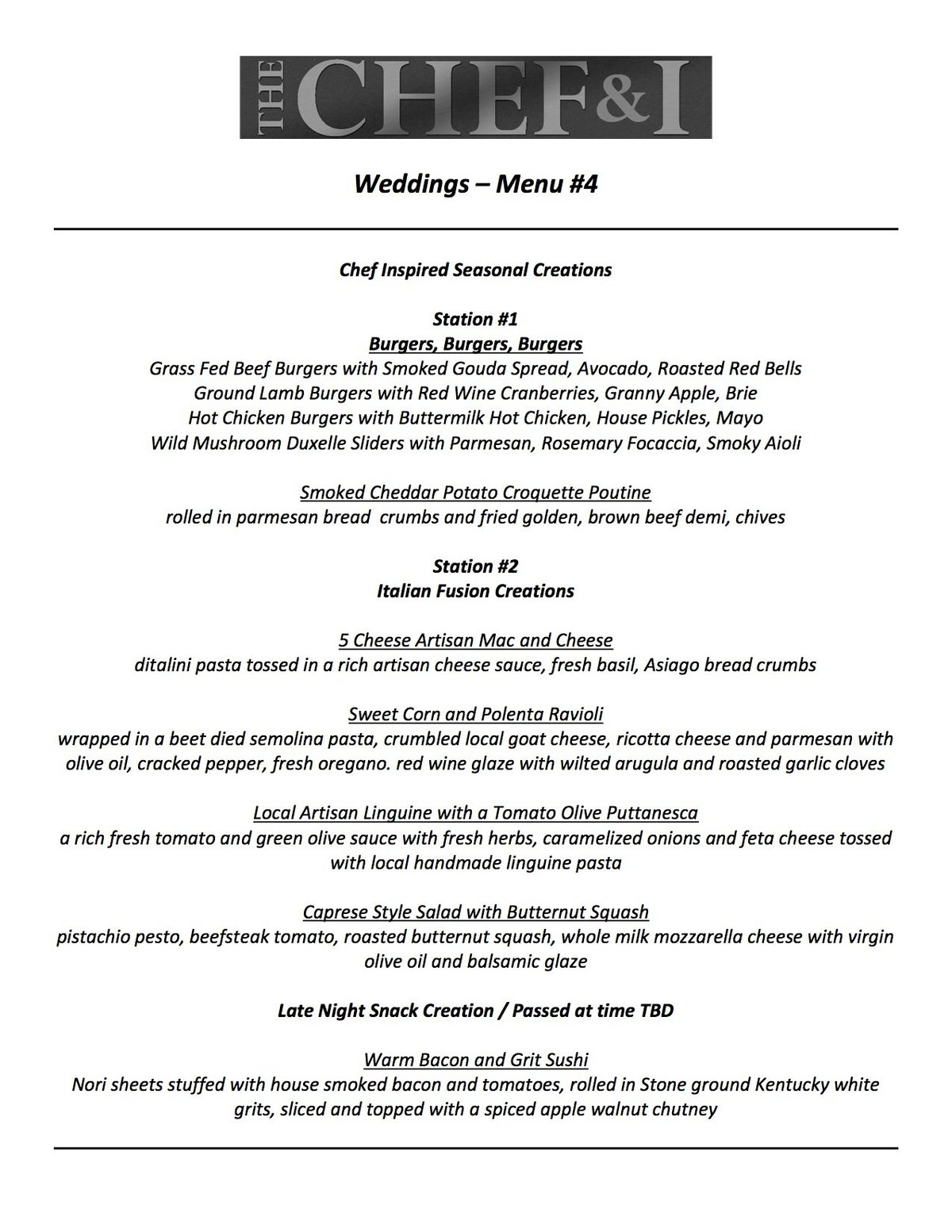 Weddings Menu 4