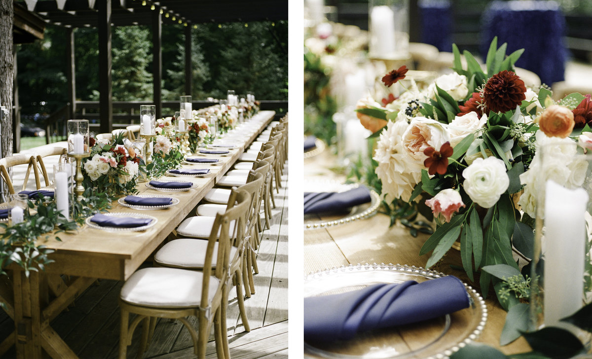 wedding reception tables at sherwood forest with navy linens wood tables candles and beautiful floral arrangements