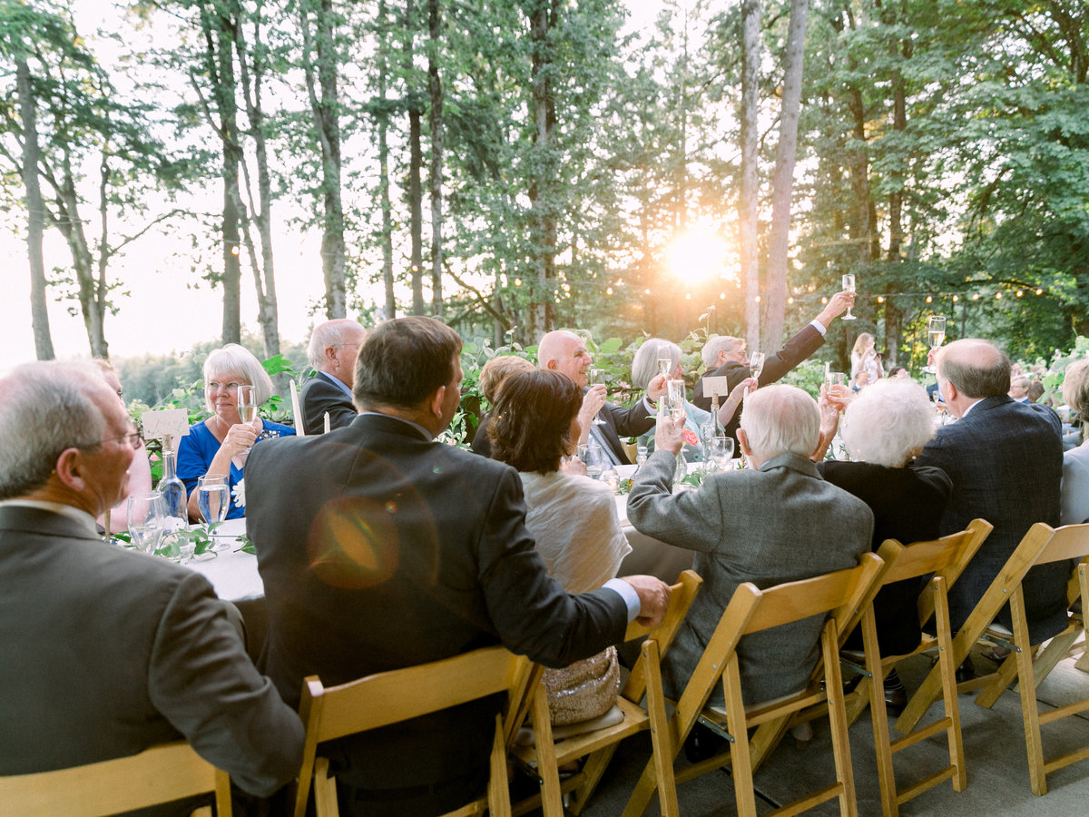 guests clapping during wedding toasts