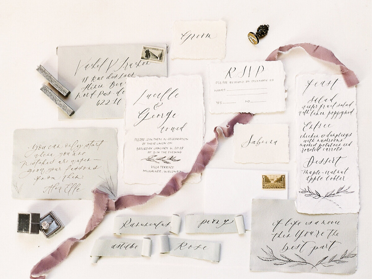 Wedding invitation suite and accessories for destination wedding