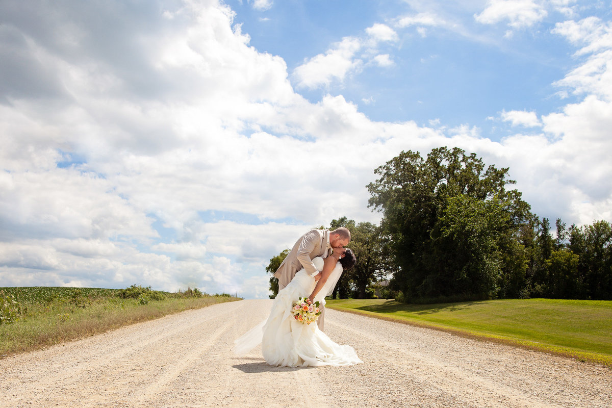 country road gravel bride and groom