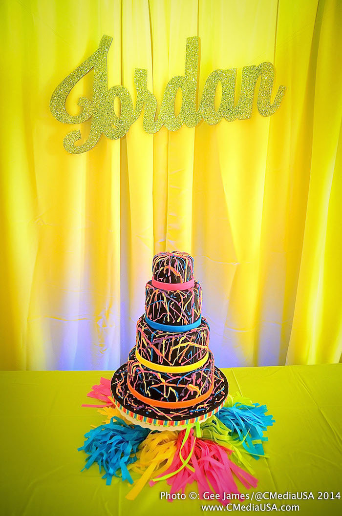 Sparkling Events Designs - Neon Dance Birthday Party - Neon Cake