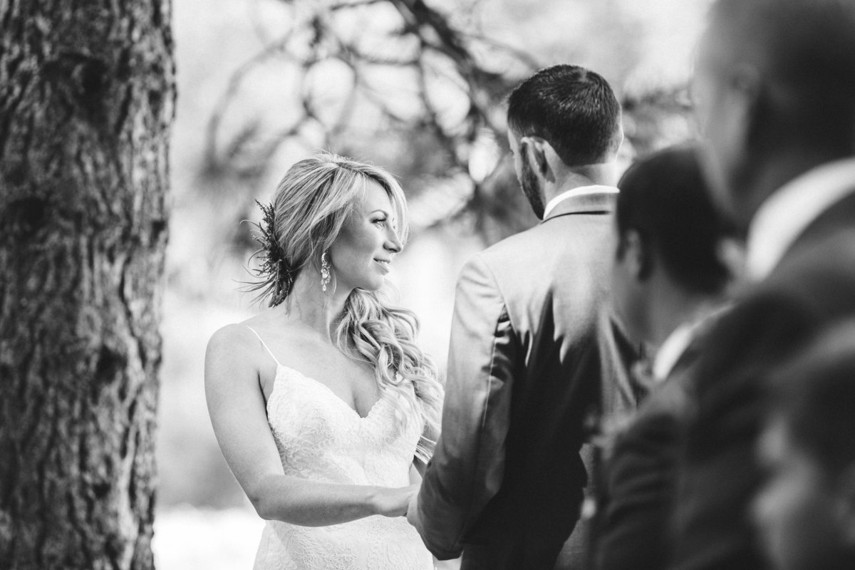 Black and white wedding ceremony photos Lake Tahoe
