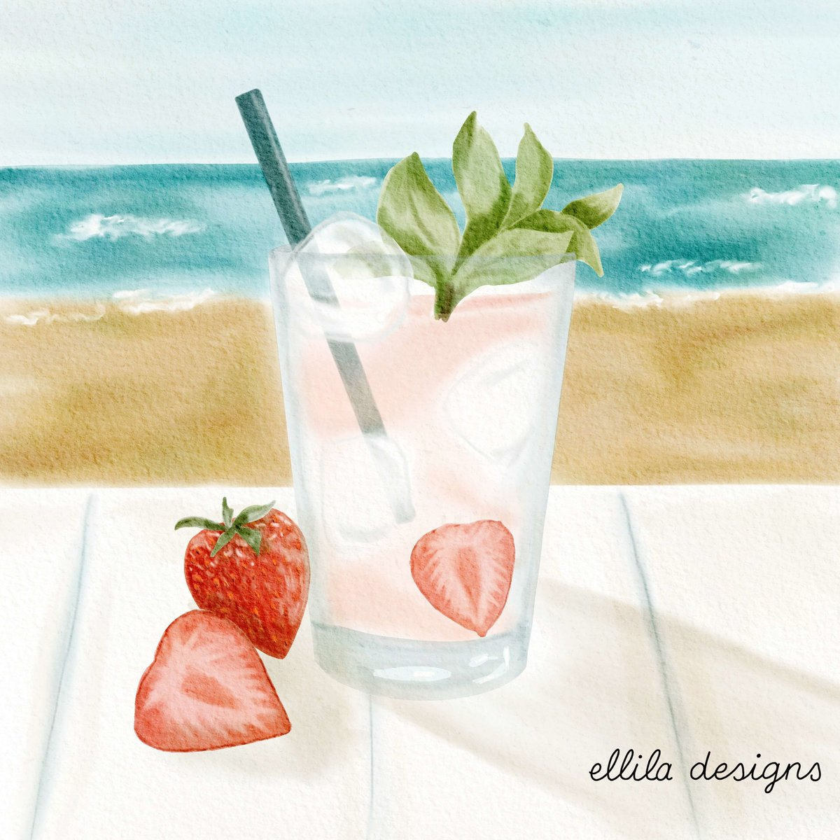 Strawberry cocktail illustration Ellila Designs