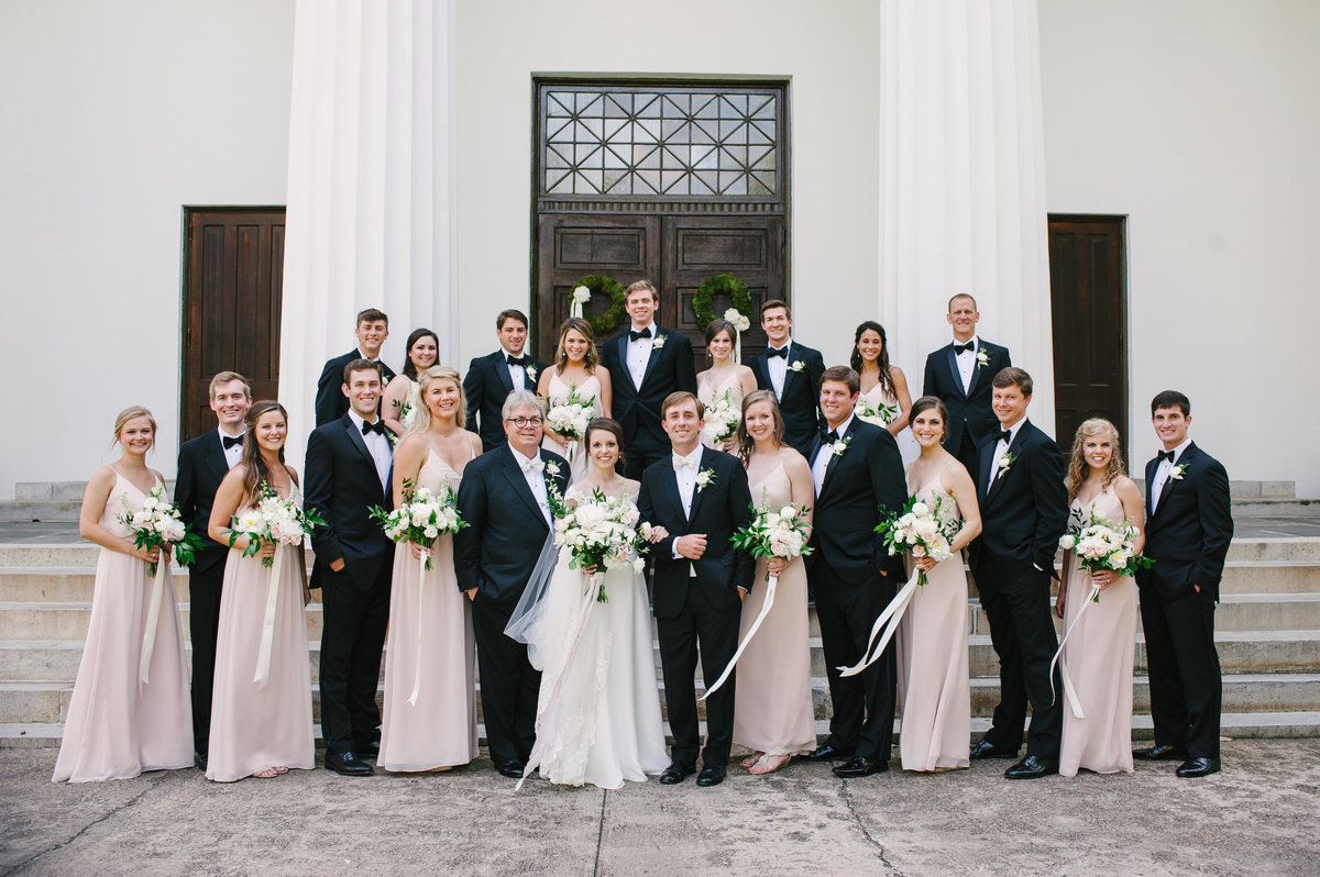 Classic Wedding Party Athens Wedding at UGA Chapel