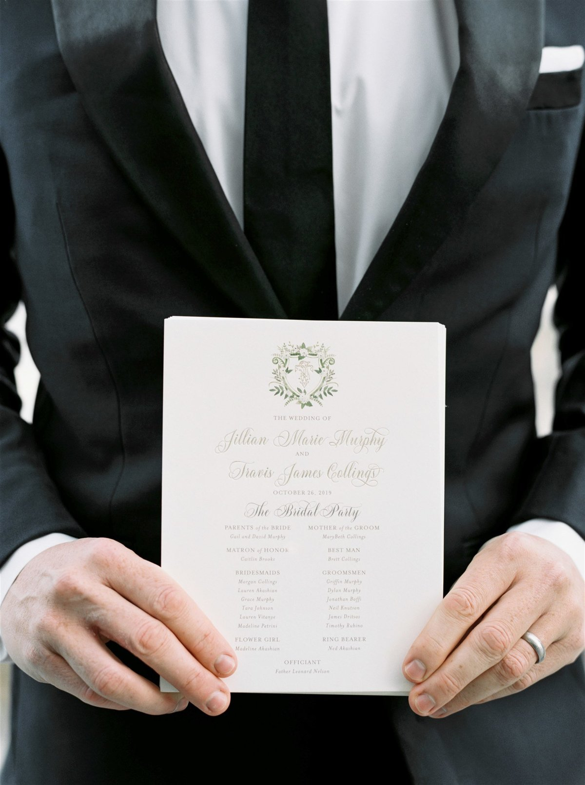 Ceremony programs with crest for a Cape Cod Wedding by luxury Cape Cod wedding planner and designer Always Yours Events
