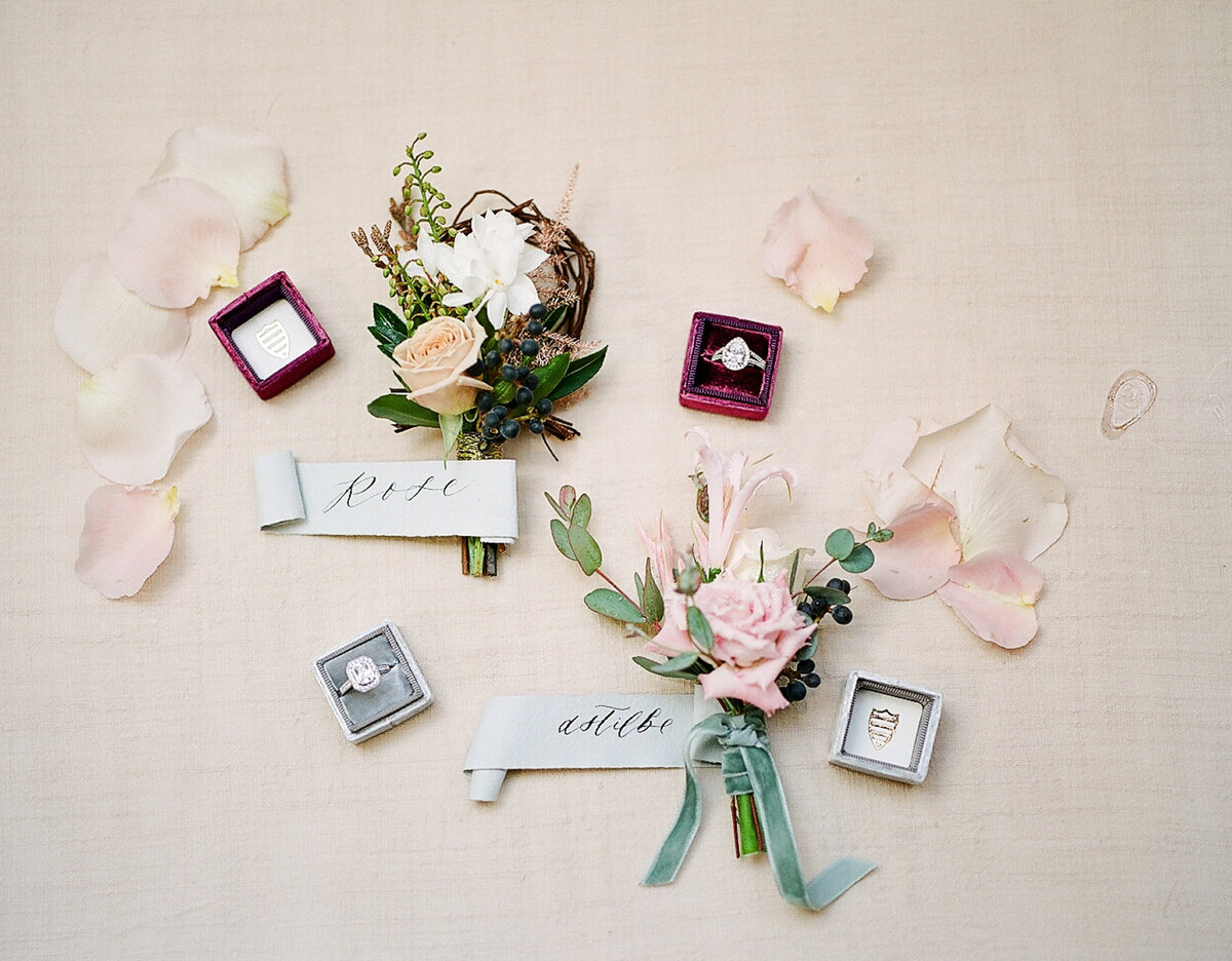 Wedding rings and boutonnieres