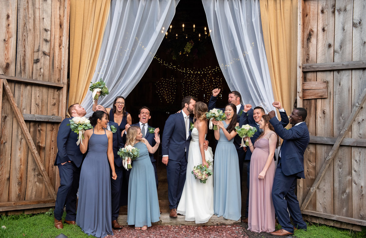 Bridal Party portrait at Burlap and Beams wedding barn, Lake George NY YM Photography