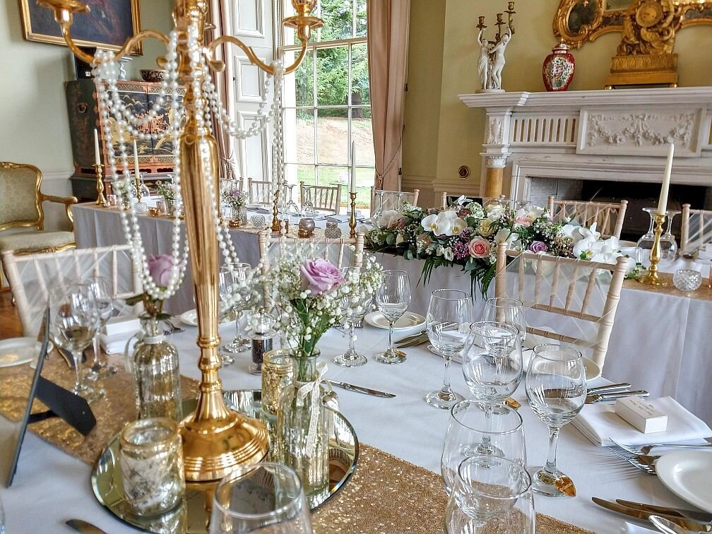 Gold candelabra sequin pearl wedding 18