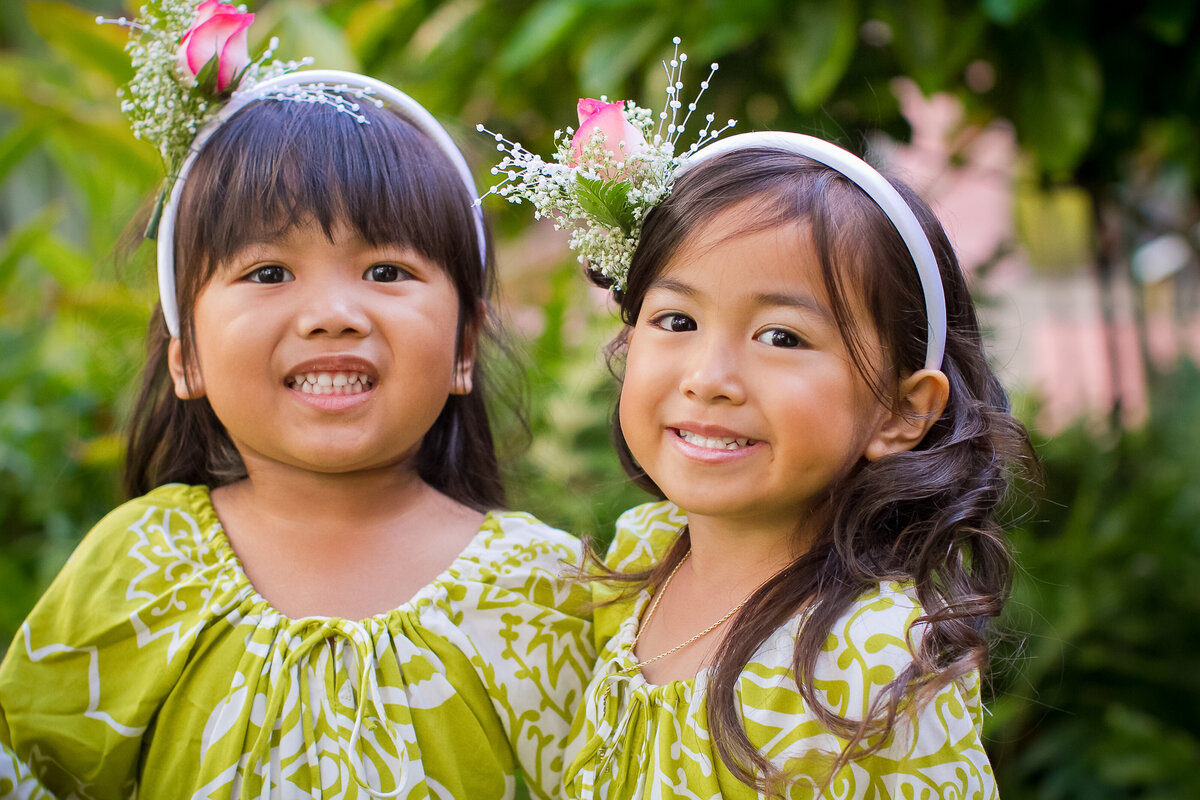 Two Hawaiian Flower Girls