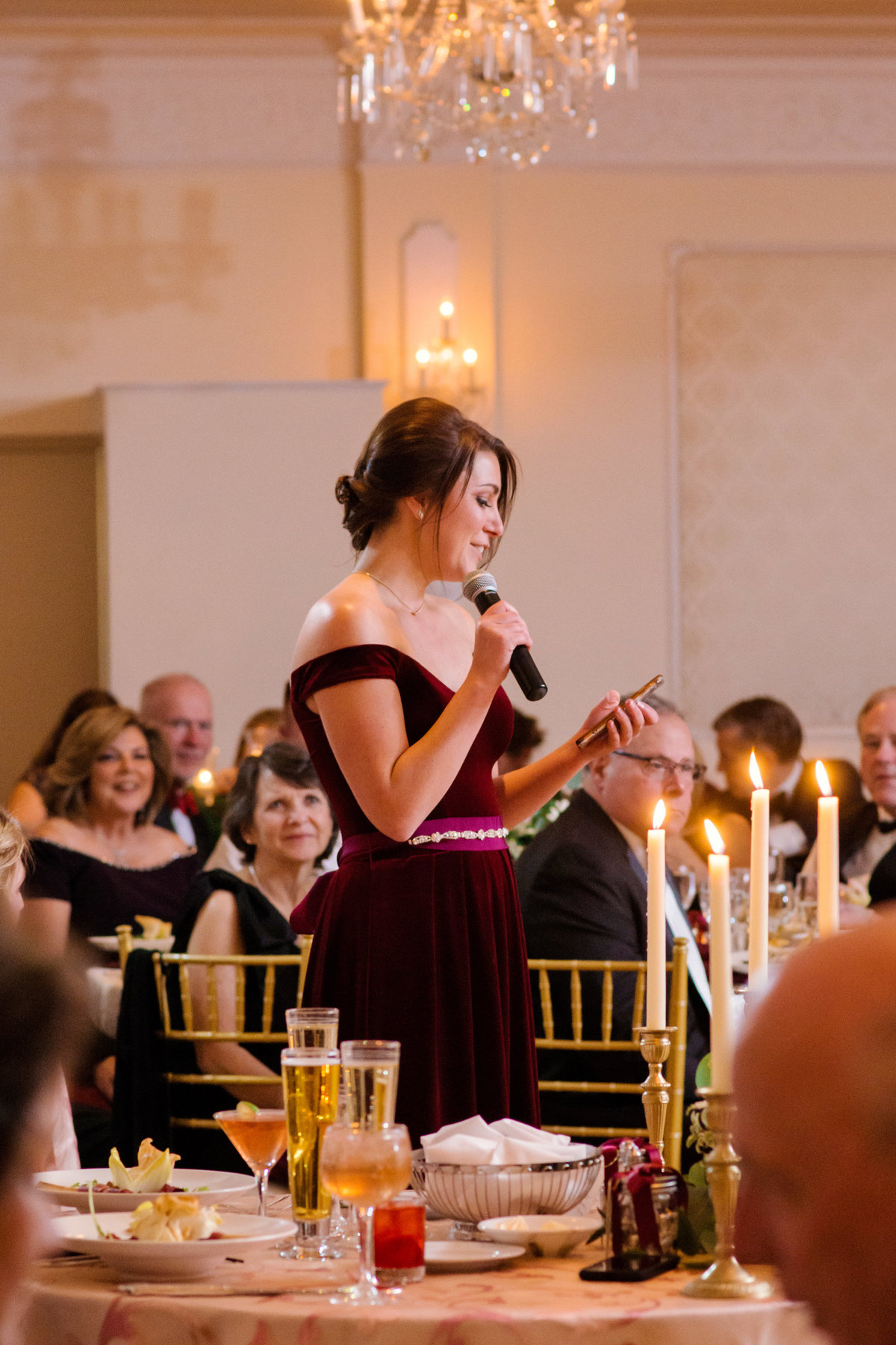 photo of maid of honor giving speech during wedding reception at The Carltun