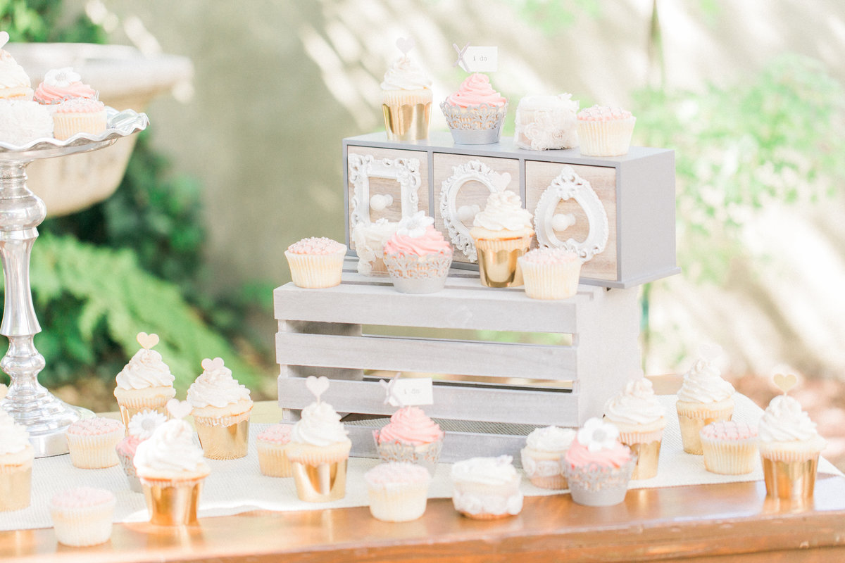 Farm Table Reception Cupcake Display