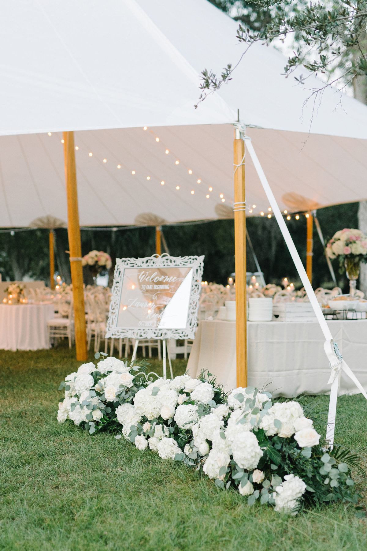 Sailcloth Tent Wedding Floral Lined Entrance Welcome Sign Boone Hall Plantation