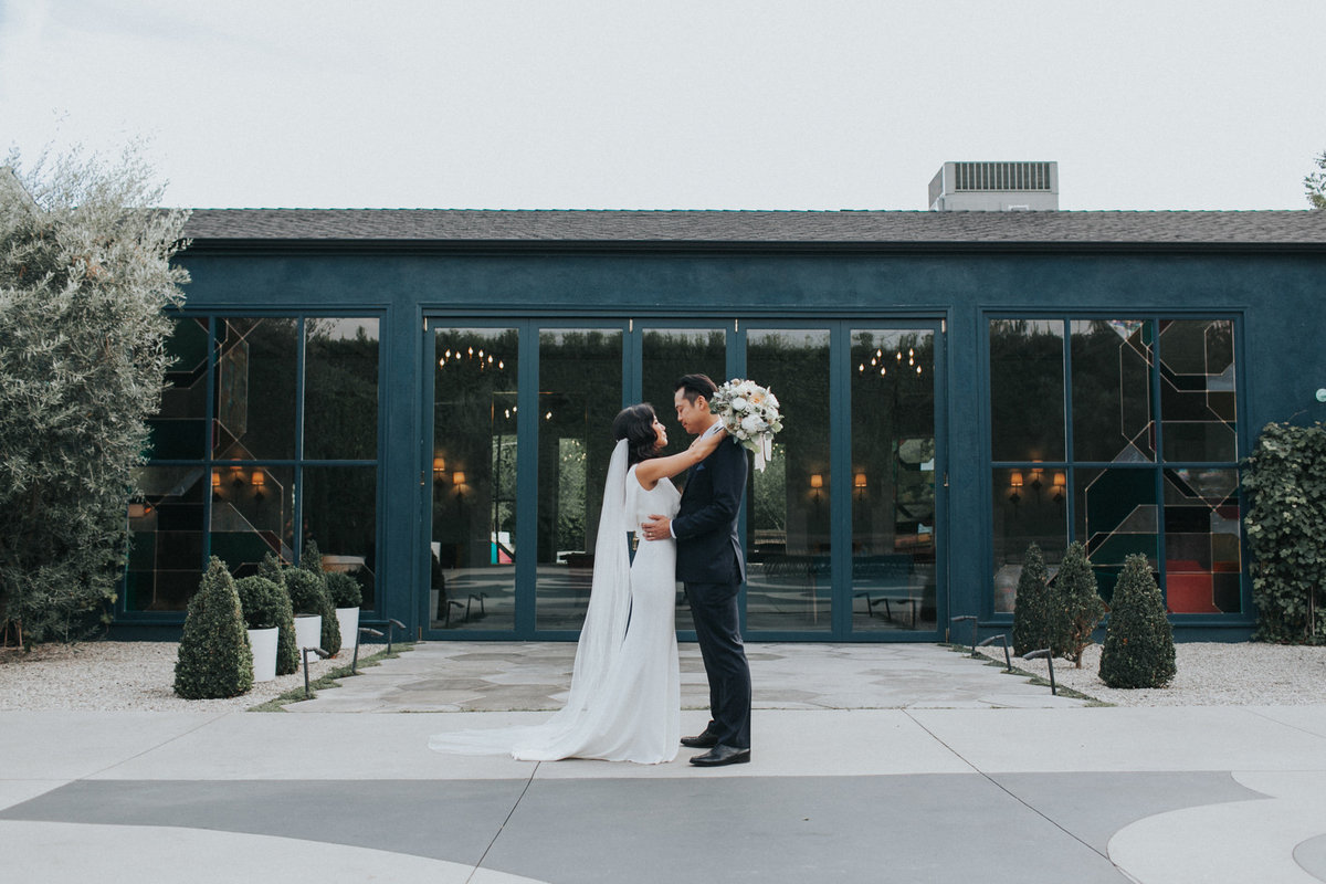 modern bride and groom wedding portrait shot at The Fig House wedding