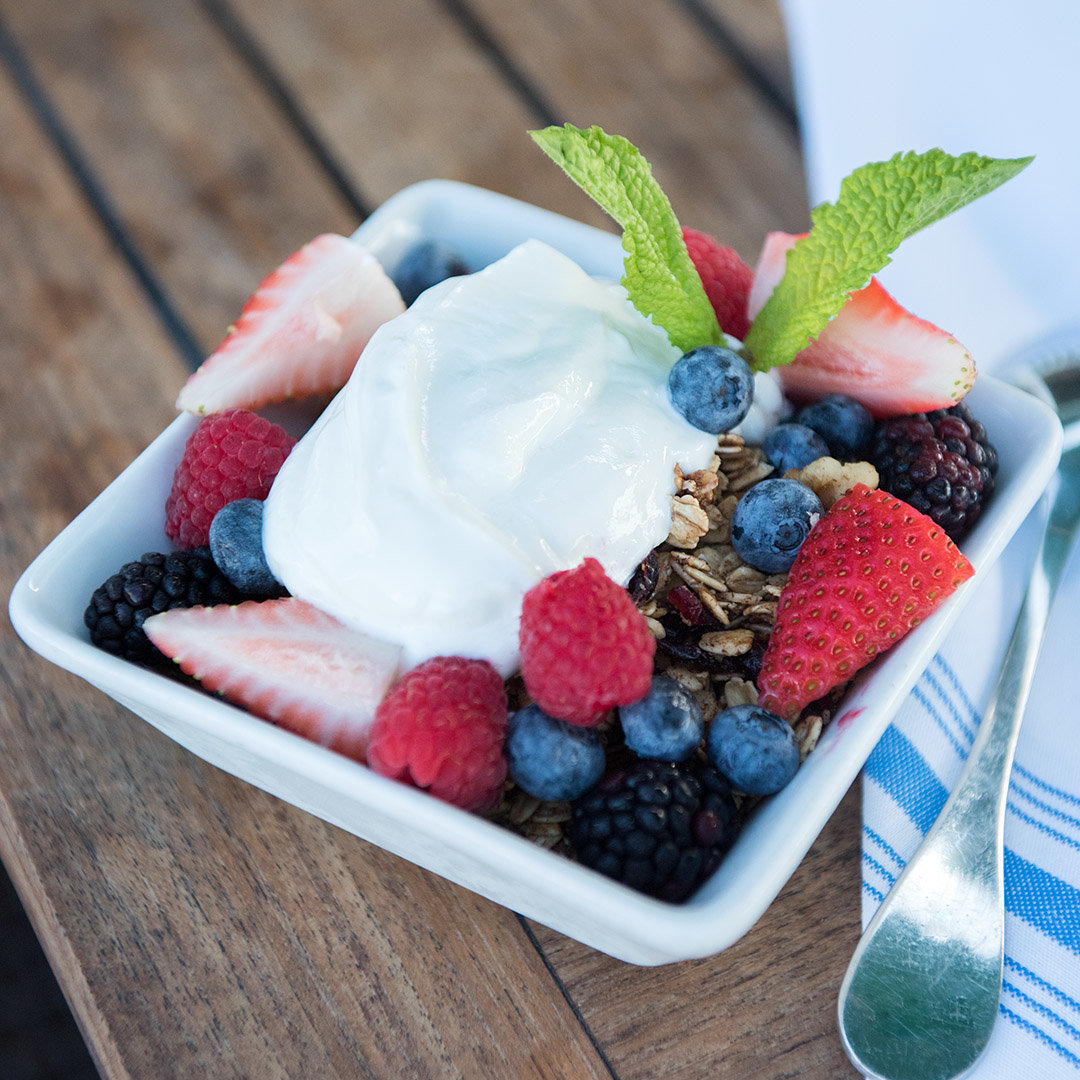 Greek yogurt with berries and granola