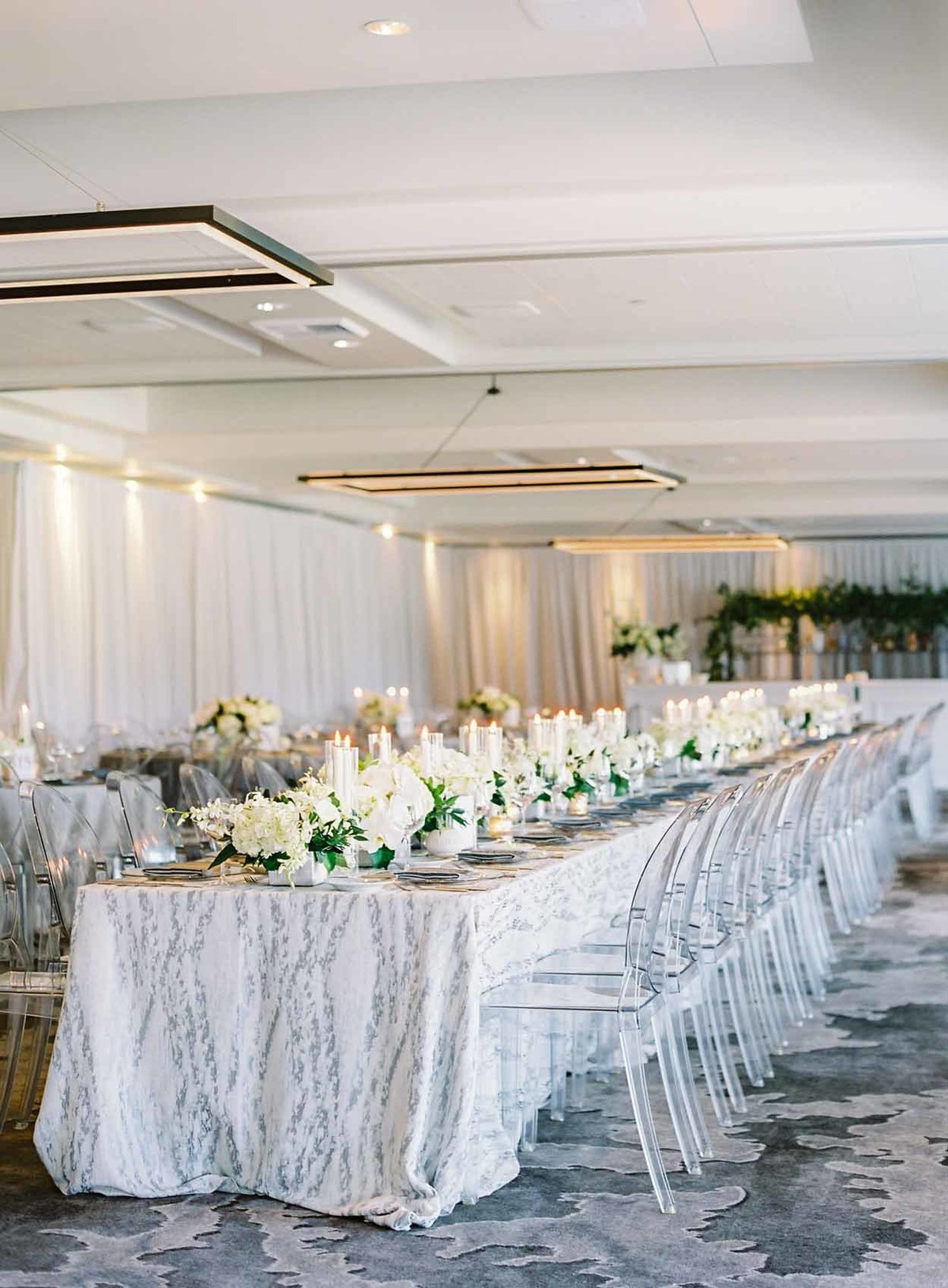 Beautiful grey and white wedding designed by Flora Nova Design Seattle at Overlake Golf and Country Club