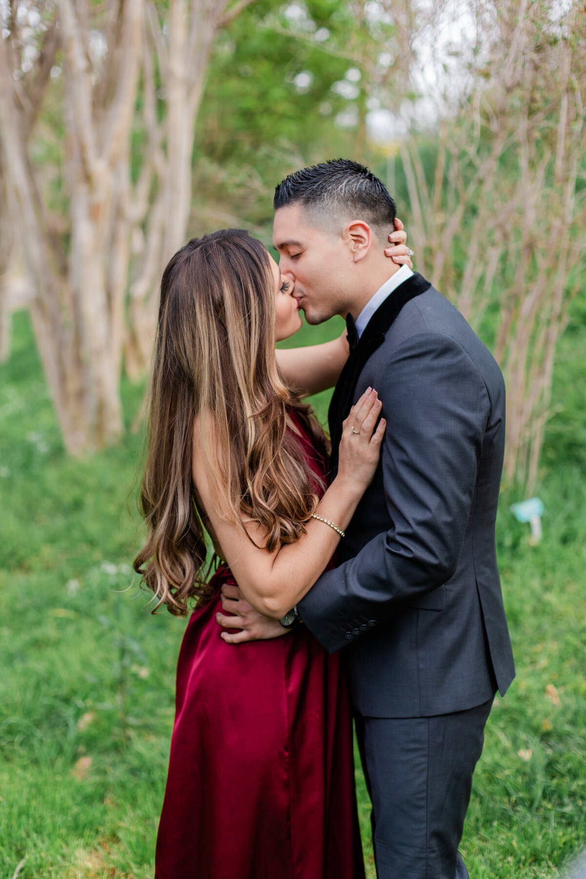 UC Riverside Botanical Gardens, Engagement Photography, Riverside Phototgrapher, Garden Engagement, Couple Photography, Red Dress-8