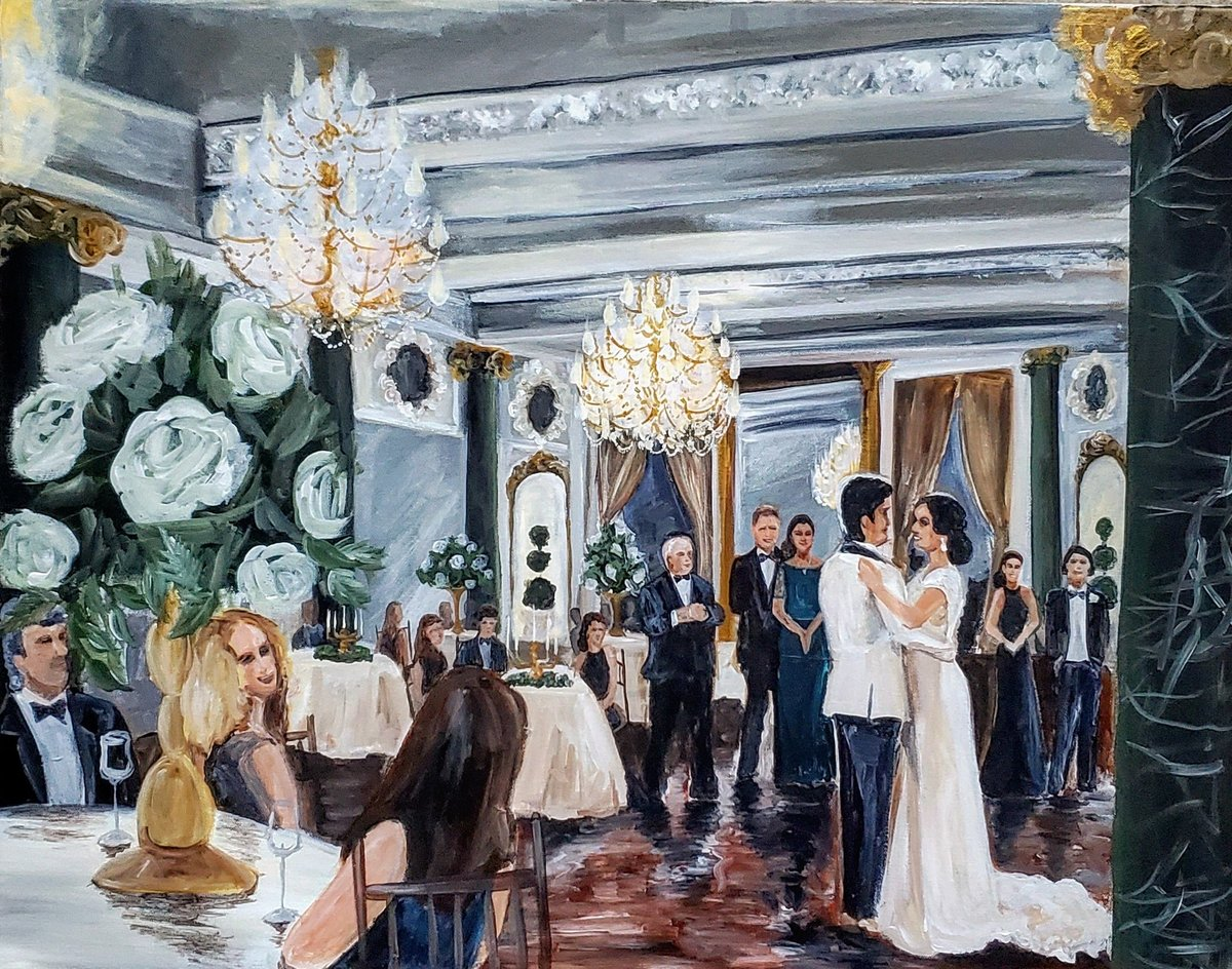 Live wedding painting of a bride and groom sharing their first dance at the Belvedere Hotel in Baltimore Maryland