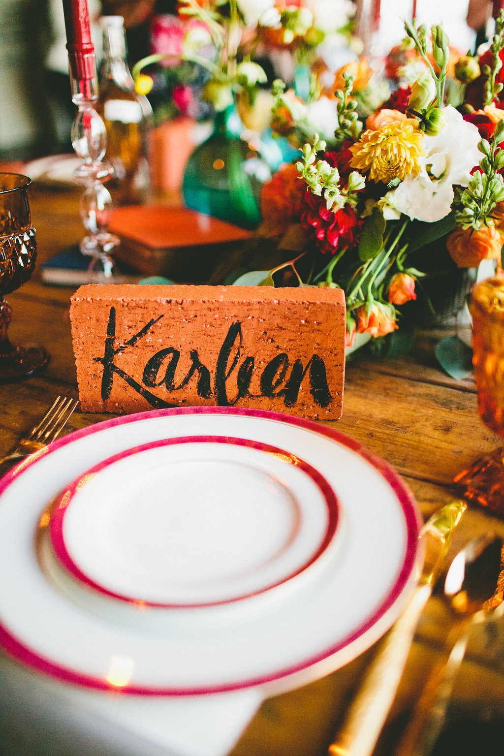 modern plate table setting with hand painted brick name card at casual dinner party with Local Table