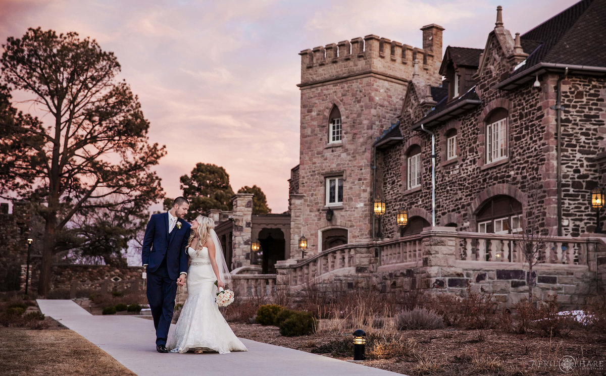 Denver Wedding Photographer at Highlands Ranch Mansion  at Sunset winter wedding