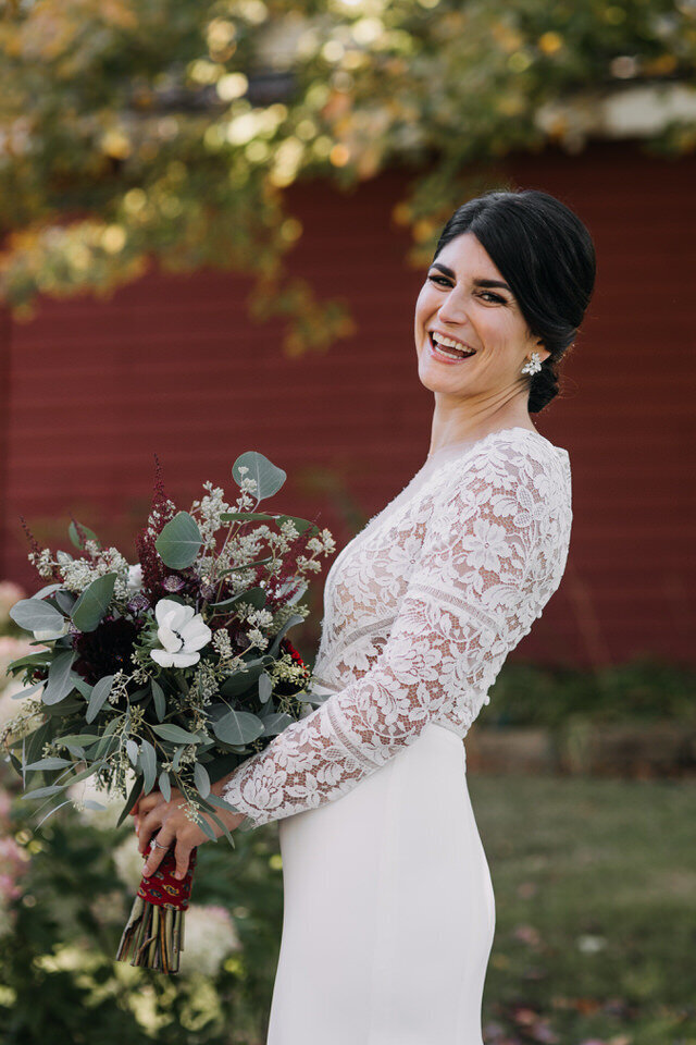 Fall Bride with Bouquet Arnold House Livingston Manor Wedding Catskills Wedding Planner Canvas Weddings