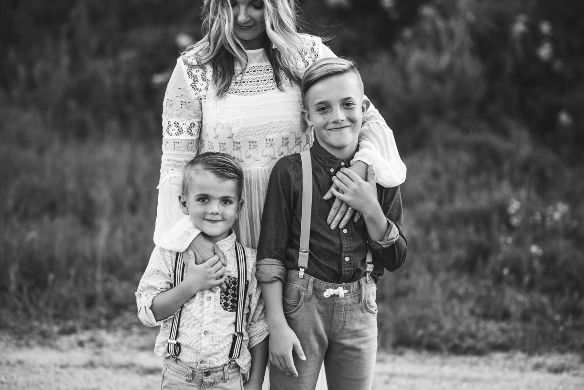 Mother and Sons in Field session downtown Warsaw, Indiana