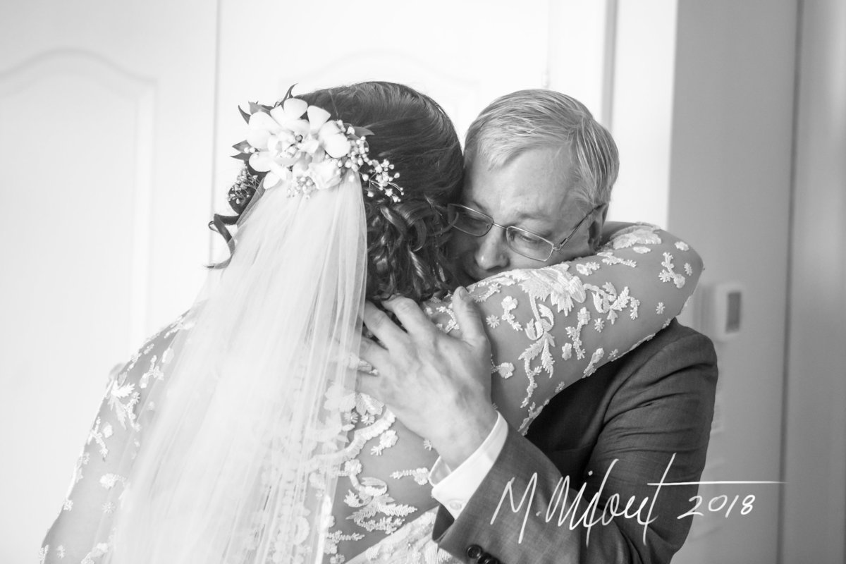 bride hugging her father before her wedding