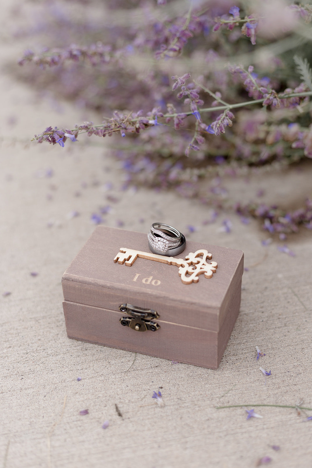 I do Wooden Ring Box with Lavender Flowers